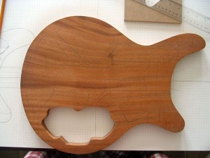 Mahogany body cut to shape