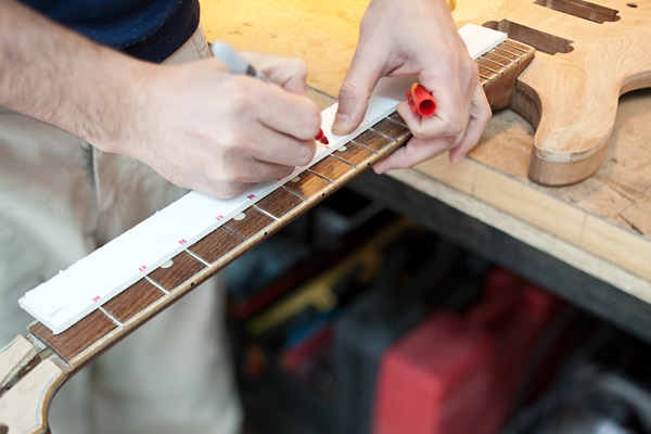 mark the position of the frets
