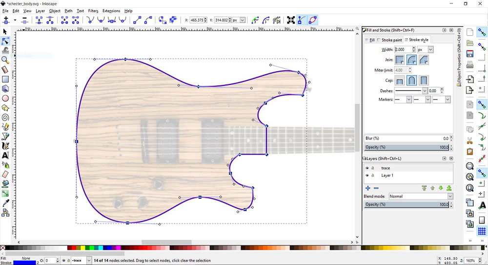 Trace of a Schecter guitar body. The opacity of the guitar body is reduced. The path is selected.