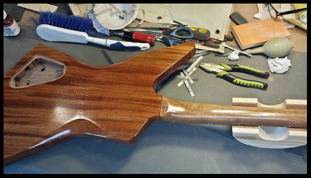 The whole guitar body was coated with Tru-oil