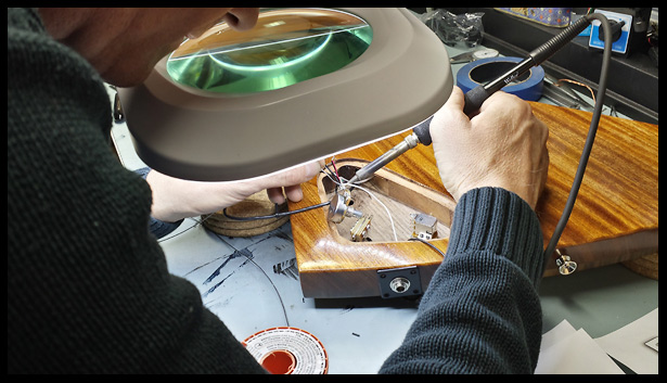 My friend Tom doing the soldering for me