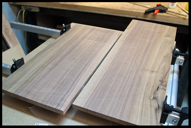 the edges of the walnut pieces are jointed