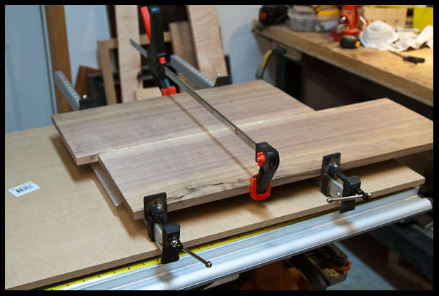 gluing the walnut piece into a top