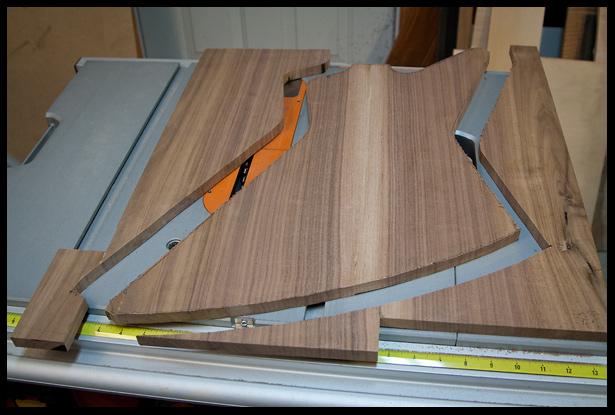 the walnut top cut to rough shape