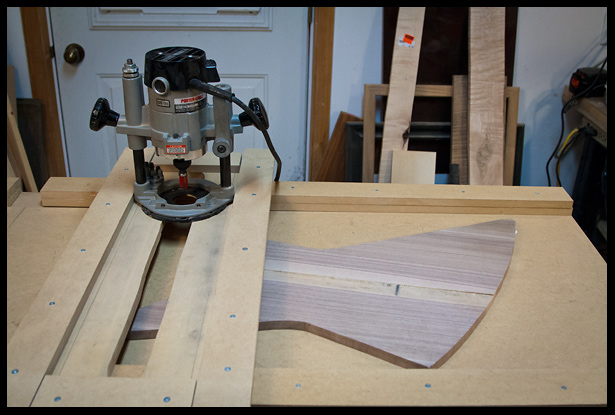 using the router planing jog to thickness plane the walnut body