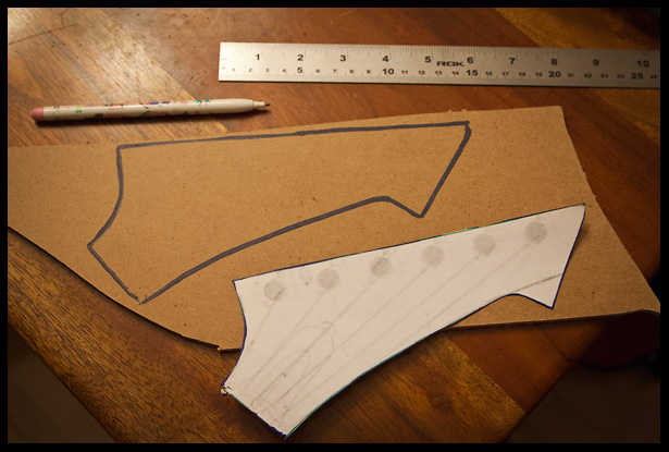Design and template making of the headstock