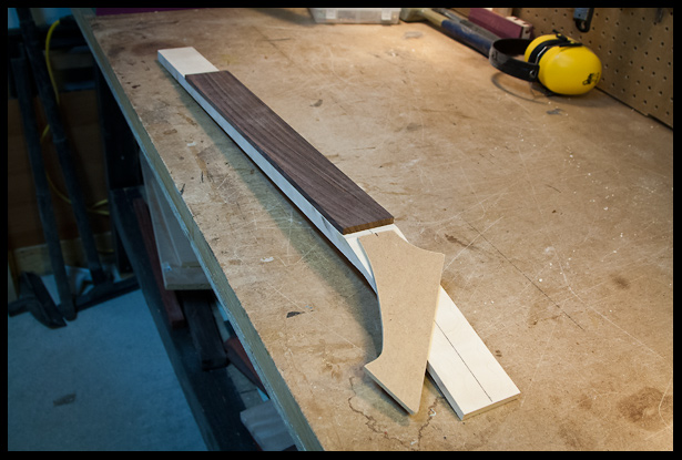 angled neck, fretboard and headstock mock-up