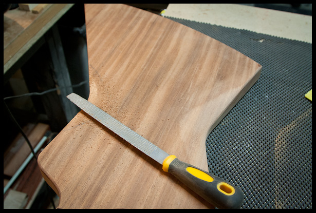 carving the back with a rasp