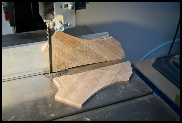 cutting the headstock veneer on the bandsaw
