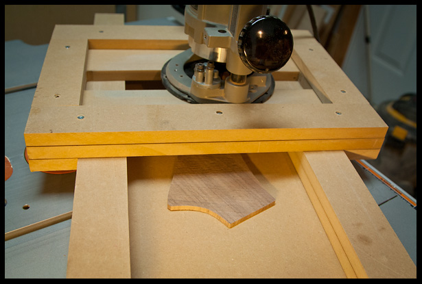 thickness planing the headstock veneer with a router planing jig