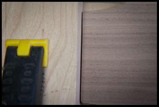 the headstock veneer angle, top view