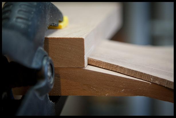 headstock veneer with bevel, side view