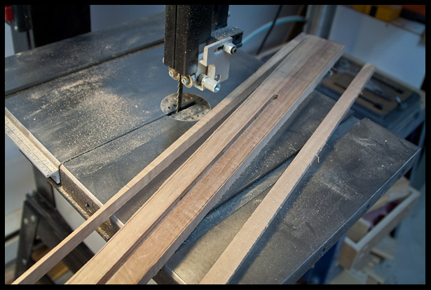 Bringing the neck dimensions closer to final on the band saw