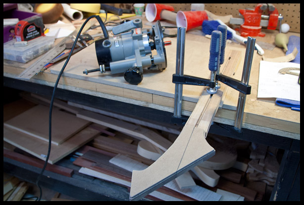 ready to route the final headstock shape with the template