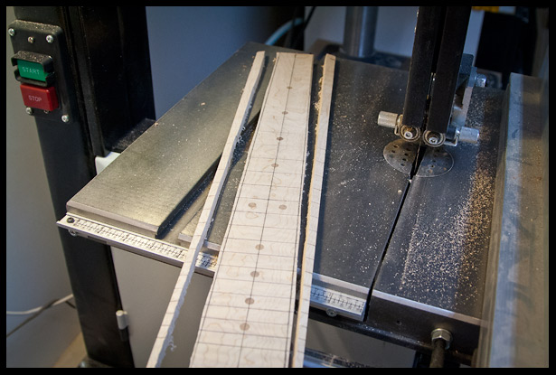 maple fretboard cut to rough dimensions on the bandsaw