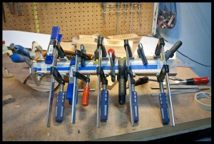 gluing the maple fretboard to the neck