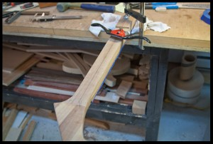 Starting to shape the back of the neck with a spokeshave