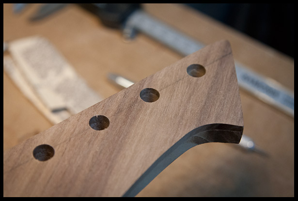 Tuner holes are drilled