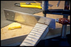 Cutting the upper part of the heel