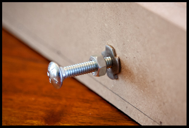 T-nuts to hold the bolts on the truss rod channel routing jig