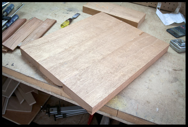 The mahogany body blank is ready