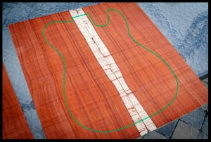 The outline of the telecaster shape is added in photoshop