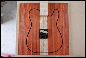 White sapwood stripe with bird'eye maple fretboard