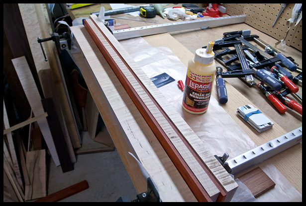 Gluing the 5-piece neck laminate
