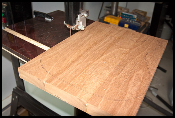 Time to take it to the band saw and cut out the rough telecaster shape