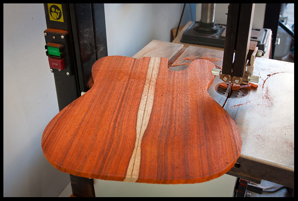 The top after being cut on the band saw