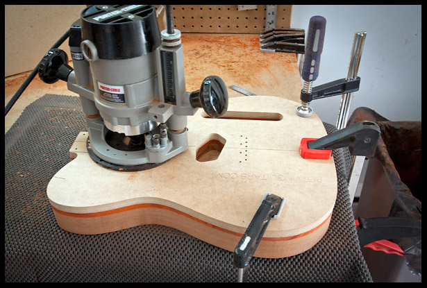 Routing the pickup and electronics cavities with the template as a guide