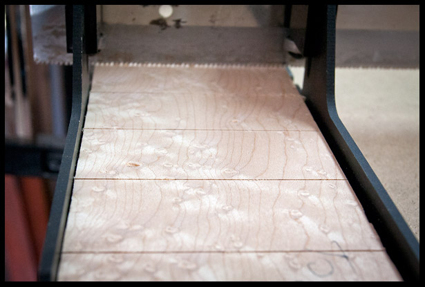 Cutting fret slots on Bird's Eye Maple