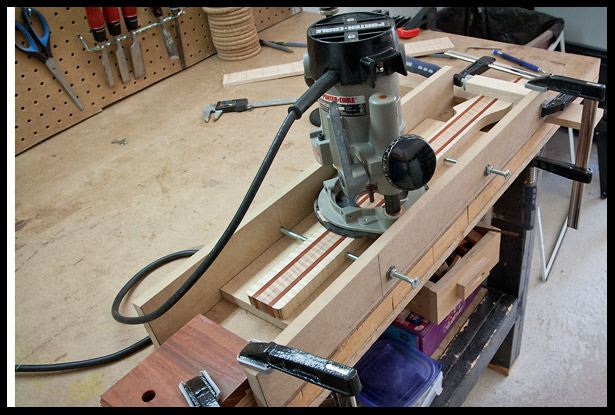 Preparing the truss rod channel routing jig