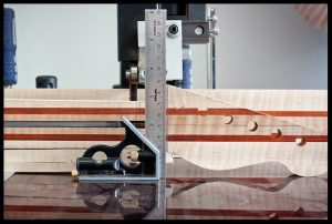 Shimming the neck to cut on the band saw