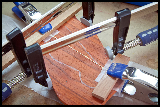 Gluing the headstock veneer blank