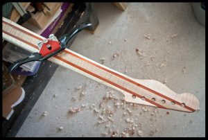 Starting to carve the back of the neck with a spokeshave