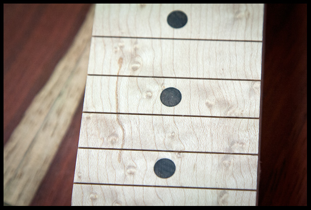 Even closer look at the ebony dot inlays