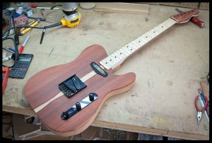 Mock up of the guitar with hardware