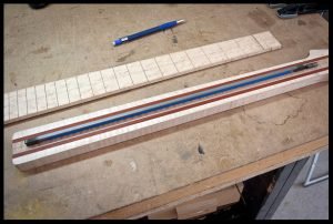 Truss rod, fretboard and neck