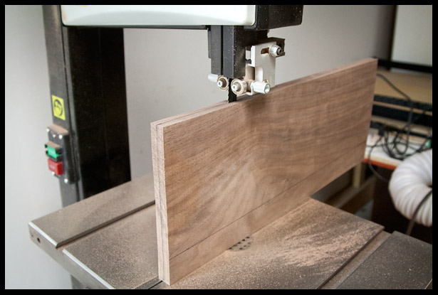 Ripping the walnut to create a bookmatched set