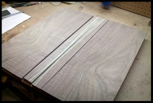 The pieces of the walnut bookmatched set