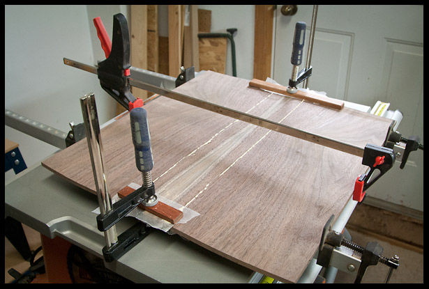 Gluing the bookmacthed walnut top with sapwood in the center