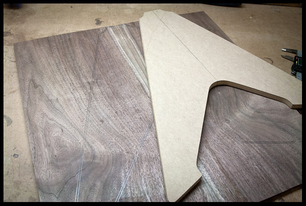Tracing the body shape onto the walnut top