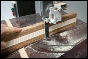 Cutting the scarf joint on the bandsaw