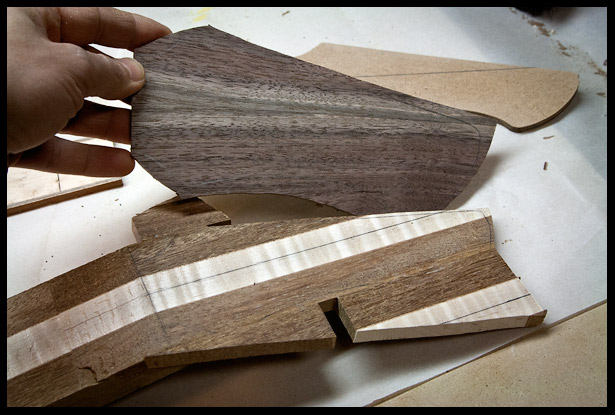 The bookmatched headstock veneer