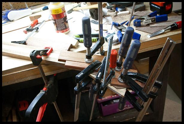 Clamping the headstock veneers