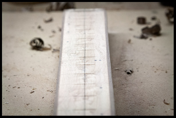 Fretboard with binding and in the process of adding a 12 degree radius
