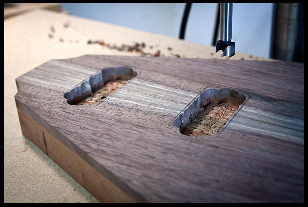 Drilling out the majority of the wood with a Forstener bit on the drill press