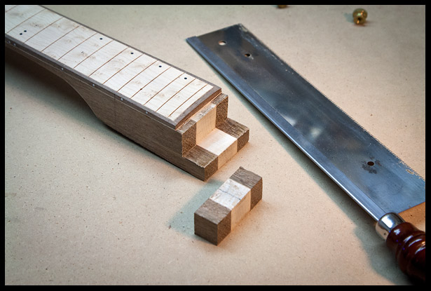 Cutting the heel to fit properly in the neck pickup cavity