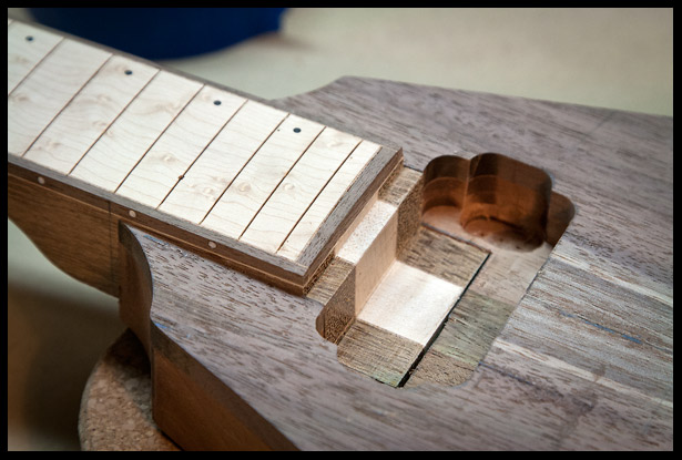 The neck heel fitting in the neck pickup cavity